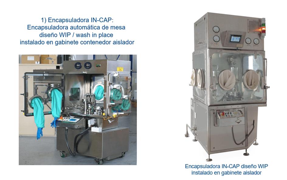Encapsuladora automática de mesa IN-CAP para polvo, liquido, tabletas, pellets en Gabinete Aislador