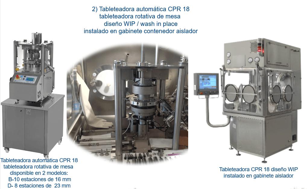 Tableteadora automática CPR 18 instalado en gabinete contenedor aislador